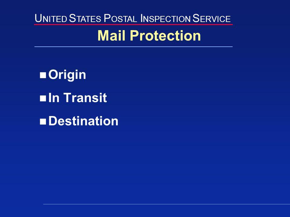 U NITED S TATES P OSTAL I NSPECTION S ERVICE Mail Protection Origin In Transit Destination