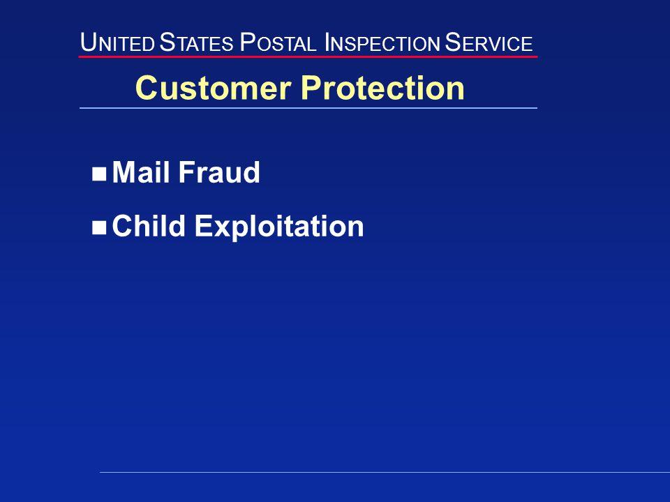 U NITED S TATES P OSTAL I NSPECTION S ERVICE Customer Protection Mail Fraud Child Exploitation