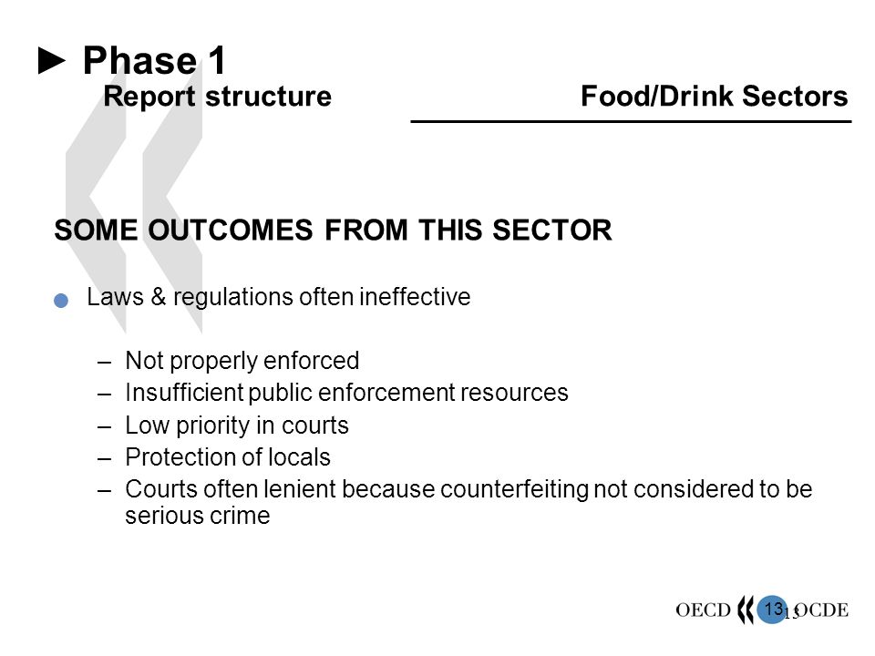 13 SOME OUTCOMES FROM THIS SECTOR Laws & regulations often ineffective –Not properly enforced –Insufficient public enforcement resources –Low priority