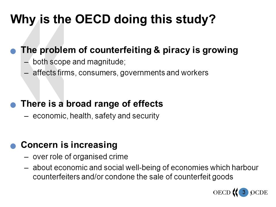 3 3 The problem of counterfeiting & piracy is growing –both scope and magnitude; –affects firms, consumers, governments and workers There is a broad r