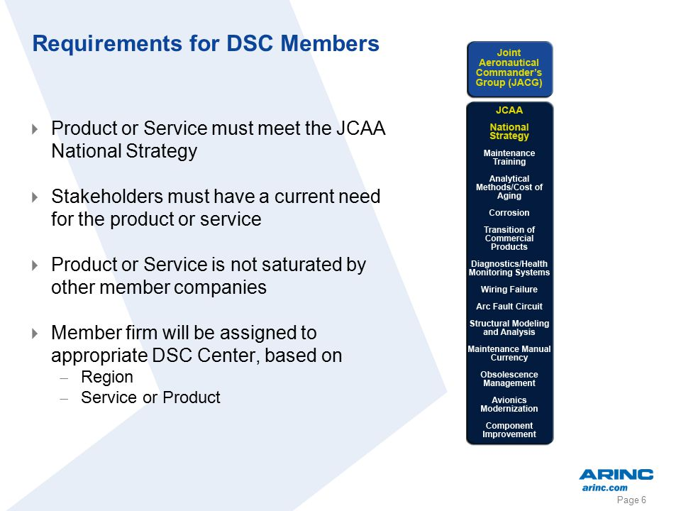 Page 6 Requirements for DSC Members  Product or Service must meet the JCAA National Strategy  Stakeholders must have a current need for the product or service  Product or Service is not saturated by other member companies  Member firm will be assigned to appropriate DSC Center, based on  Region  Service or Product