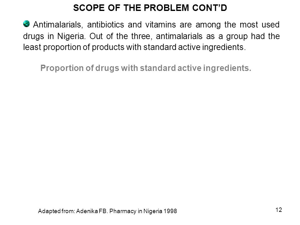 11 Estimates of the extent of counterfeit medicines in circulation in Nigeria ranged from 48% to 80% from various studies before 2001.