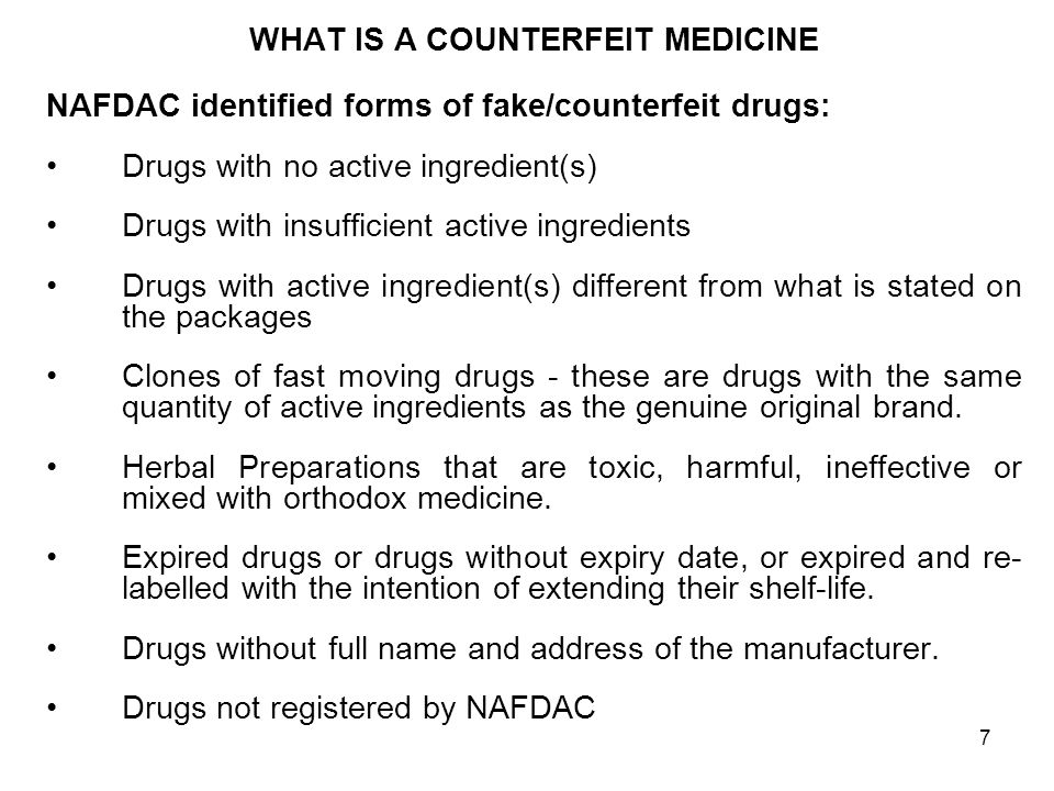 6 INTRODUCTION CONTD Drug counterfeiters have succeeded in the past three decades largely because of lack of awareness and lack of cooperation among stakeholders nationally and internationally.