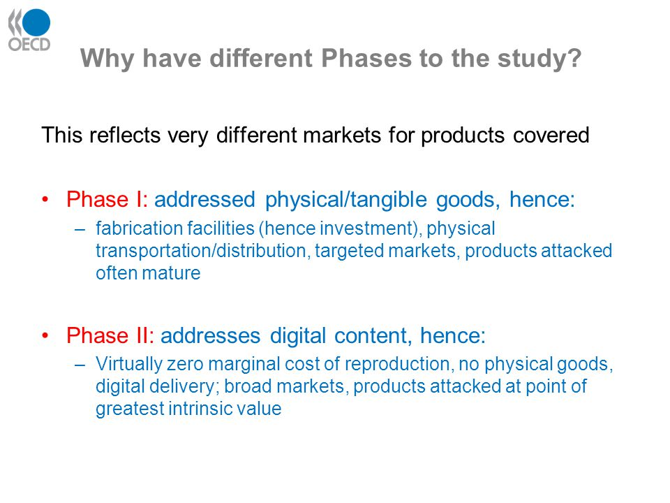Why have different Phases to the study? This reflects very different markets for products covered Phase I: addressed physical/tangible goods, hence: –