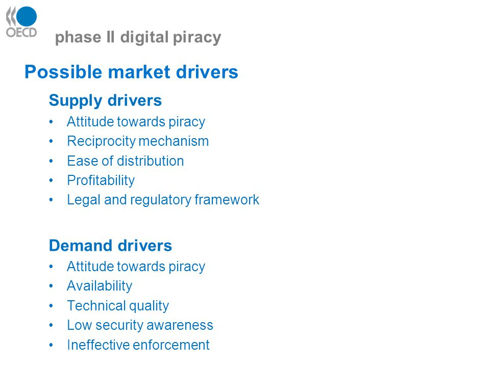 phase II digital piracy Possible market drivers Supply drivers Attitude towards piracy Reciprocity mechanism Ease of distribution Profitability Legal and regulatory framework Demand drivers Attitude towards piracy Availability Technical quality Low security awareness Ineffective enforcement