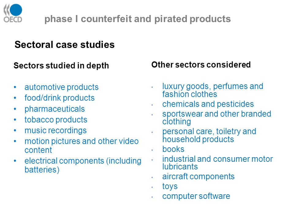 phase I counterfeit and pirated products Sectors studied in depth automotive products food/drink products pharmaceuticals tobacco products music recordings motion pictures and other video content electrical components (including batteries) Other sectors considered luxury goods, perfumes and fashion clothes chemicals and pesticides sportswear and other branded clothing personal care, toiletry and household products books industrial and consumer motor lubricants aircraft components toys computer software Sectoral case studies