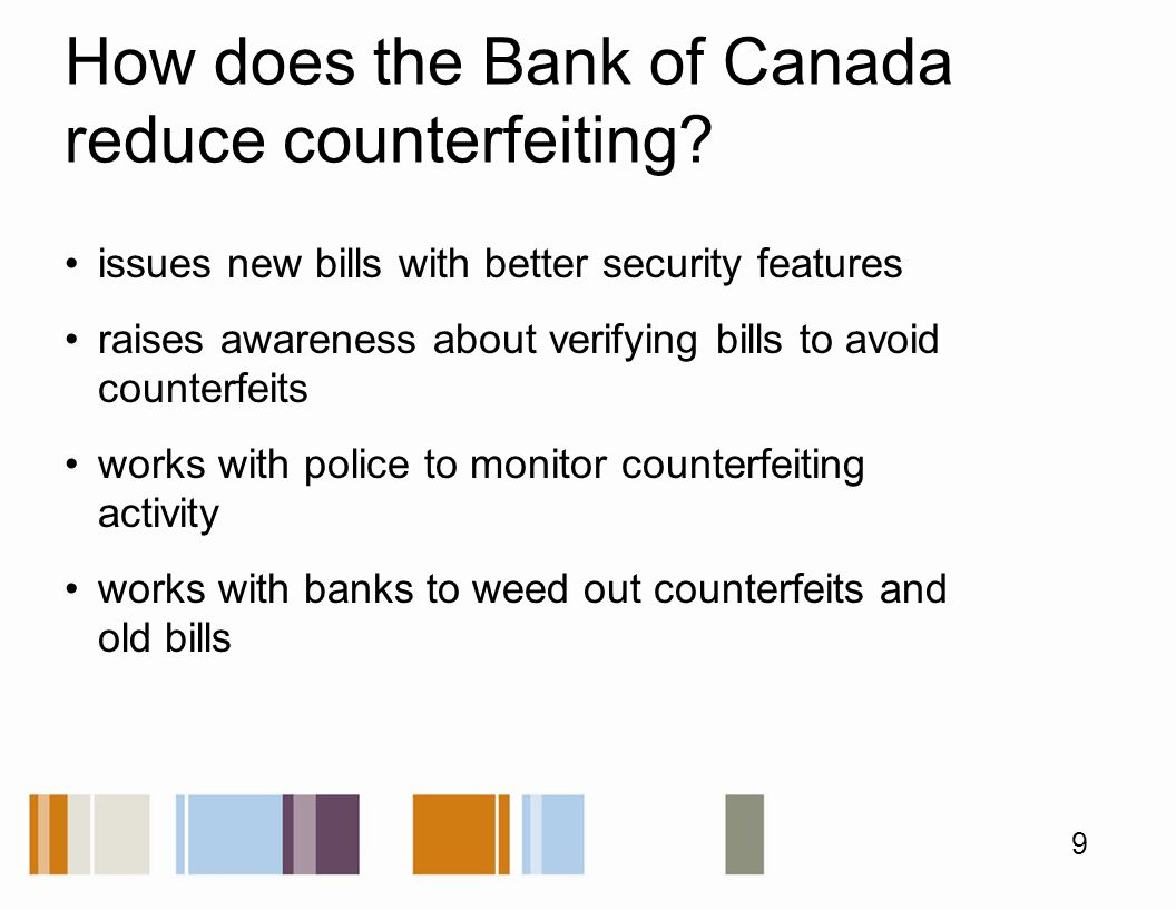 How does the Bank of Canada reduce counterfeiting.