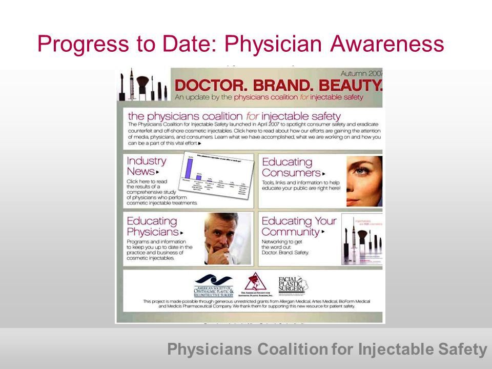 Physicians Coalition for Injectable Safety Progress to Date: Physician Awareness
