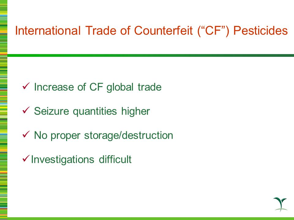 Counterfeit products (fake products) Illegal parallel imports Unregistered pesticides Manufacturing factories do NOT exist.