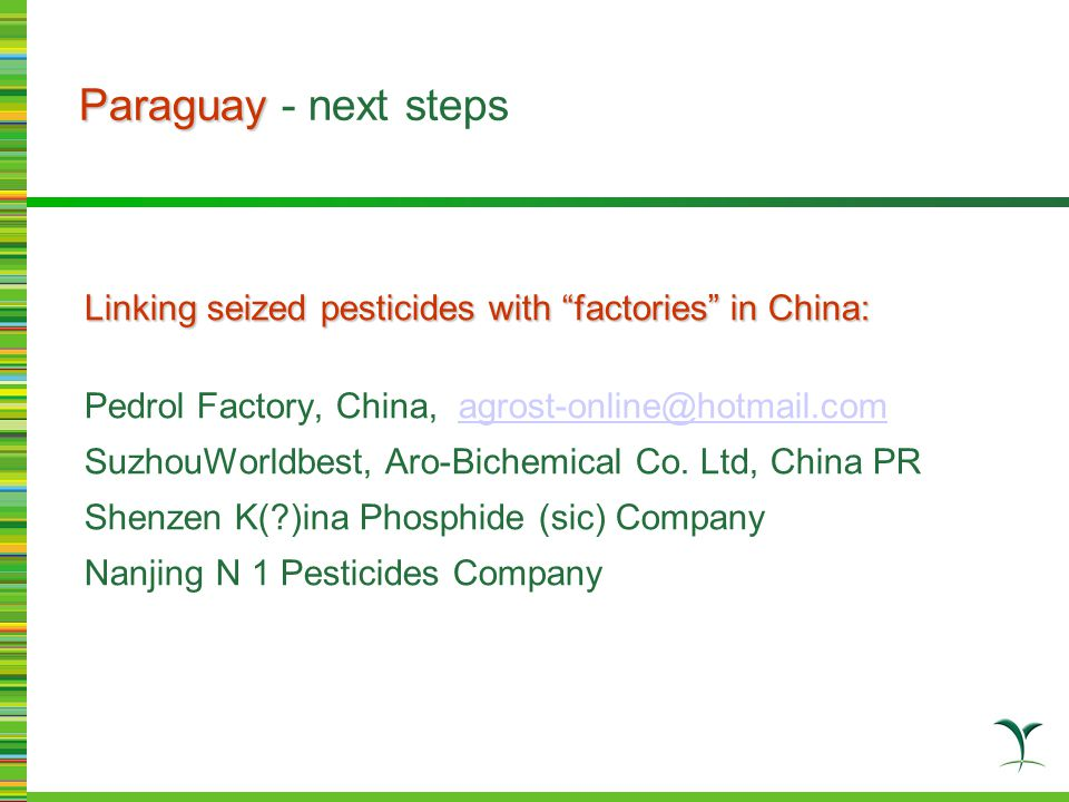 """Paraguay Paraguay - next steps Linking seized pesticides with """"factories"""" in China: Pedrol Factory, China, agrost-online@hotmail.com agrost-online@hot"""