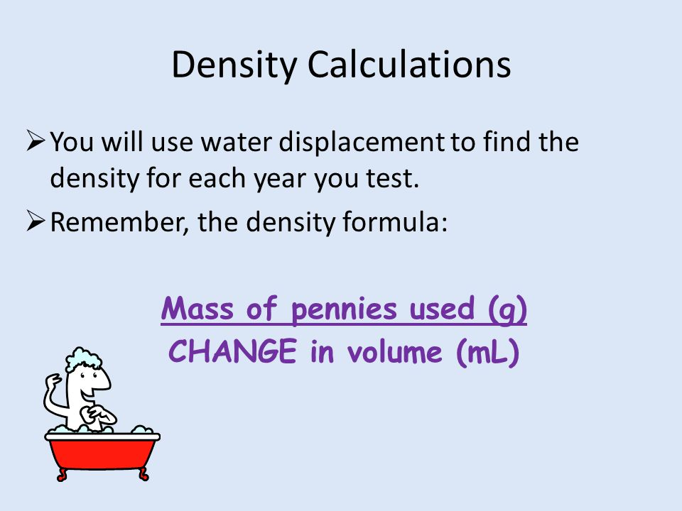 Density Calculations  You will use water displacement to find the density for each year you test.