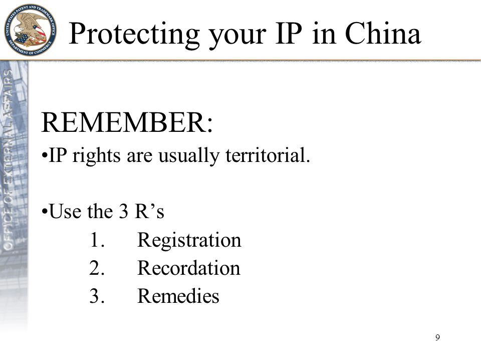 10 Protecting your IP in China Register Record Remedies