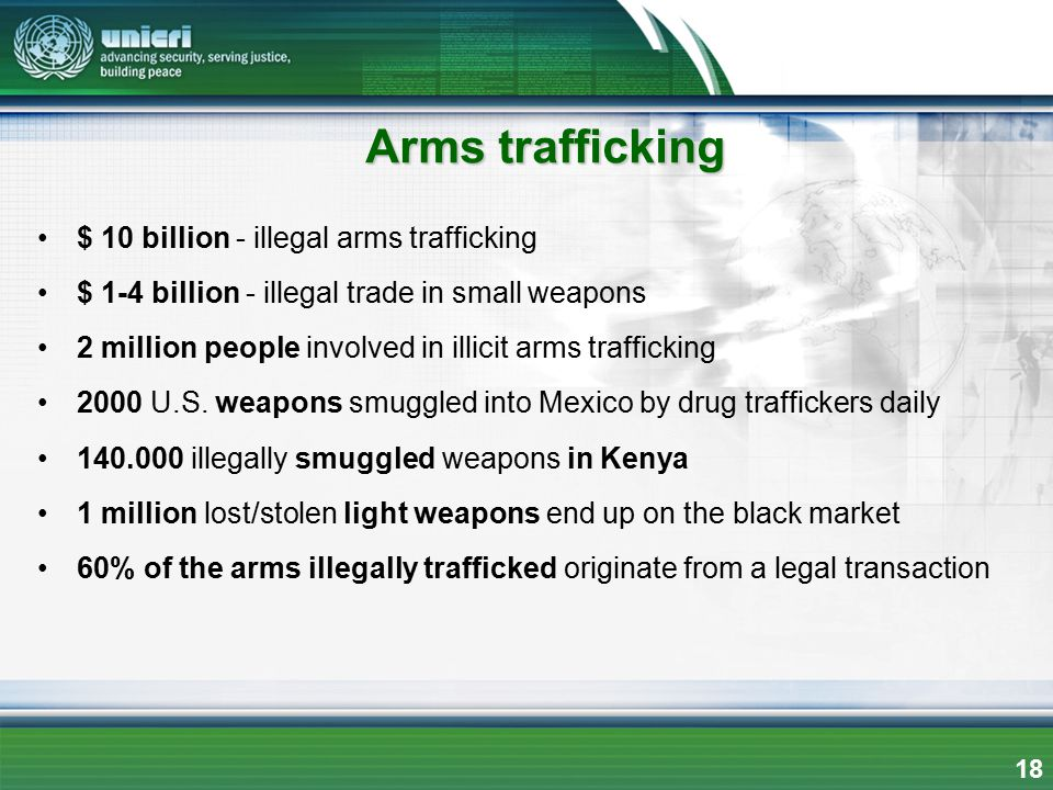 $ 10 billion - illegal arms trafficking $ 1-4 billion - illegal trade in small weapons 2 million people involved in illicit arms trafficking 2000 U.S.
