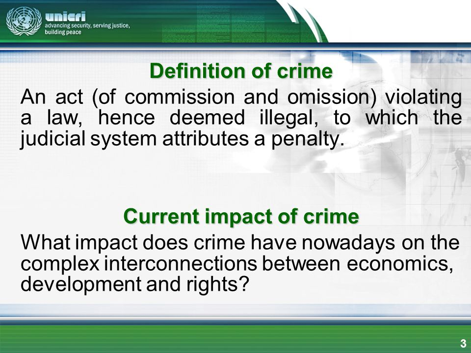 Definition of crime An act (of commission and omission) violating a law, hence deemed illegal, to which the judicial system attributes a penalty. Curr