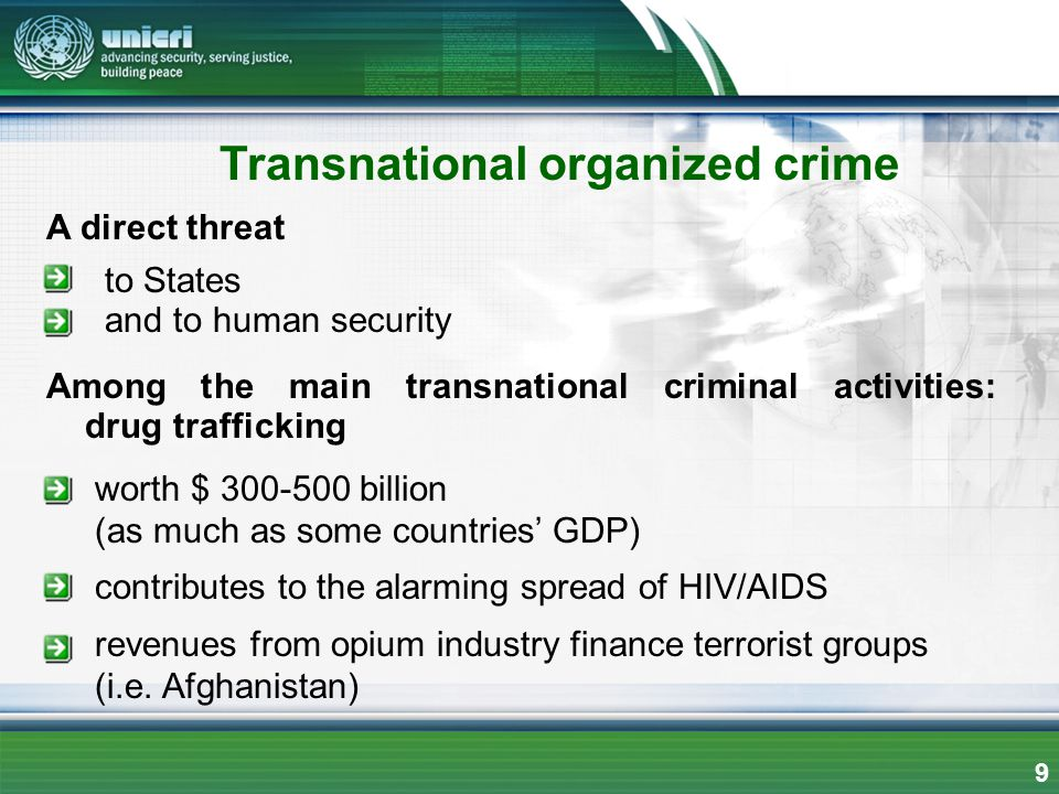 Transnational organized crime A direct threat to States and to human security Among the main transnational criminal activities: drug trafficking worth
