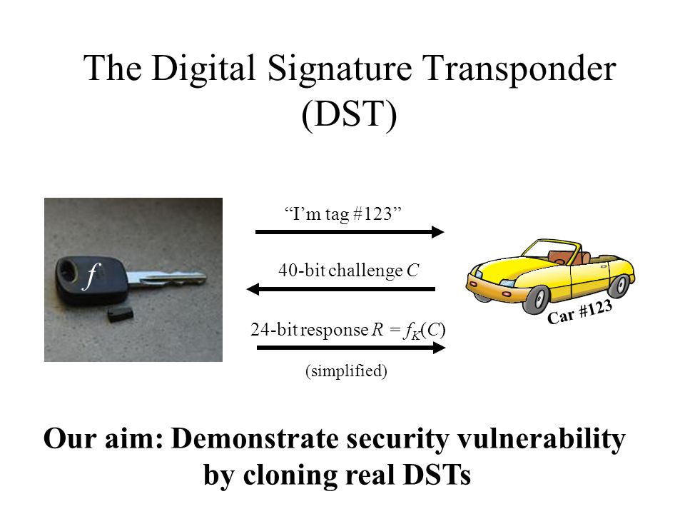 The Digital Signature Transponder (DST) I'm tag #123 Car #123 40-bit challenge C 24-bit response R = f K (C) (simplified) f Our aim: Demonstrate security vulnerability by cloning real DSTs