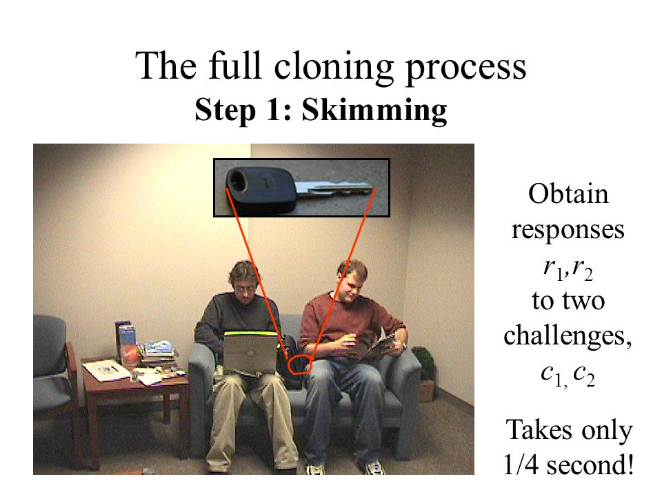 Step 1: Skimming Obtain responses r 1,r 2 to two challenges, c 1, c 2 Takes only 1/4 second.
