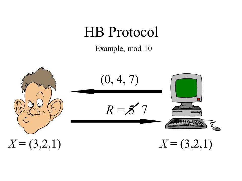 HB Protocol Example, mod 10 X = (3,2,1) (0, 4, 7) R = 5 7