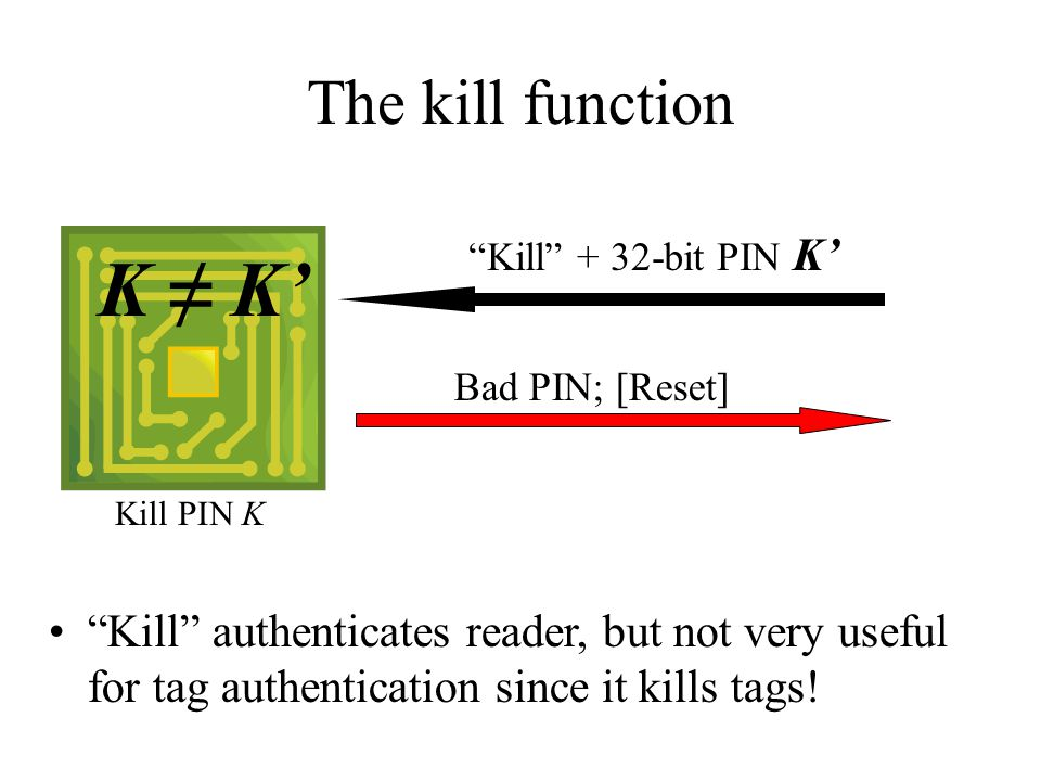 "The kill function Kill PIN K Bad PIN; [Reset] ""Kill"" + 32-bit PIN K' K ≠ K' ""Kill"" authenticates reader, but not very useful for tag authentication si"