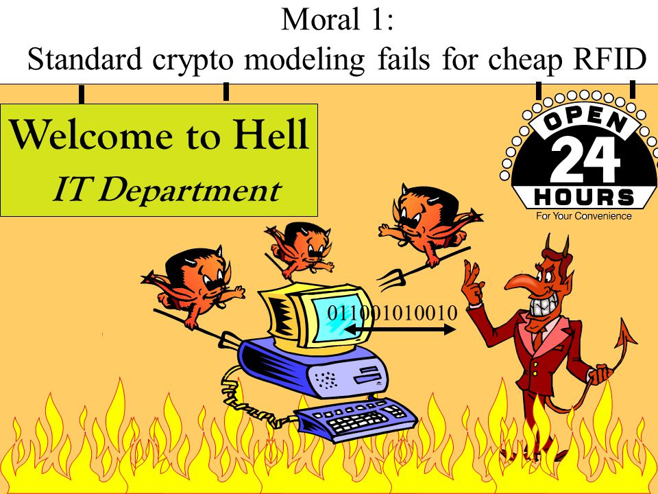 Welcome to Hell IT Department Moral 1: Standard crypto modeling fails for cheap RFID 011001010010