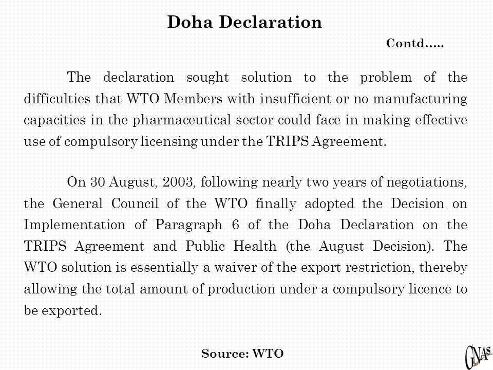 Doha Declaration Contd…..