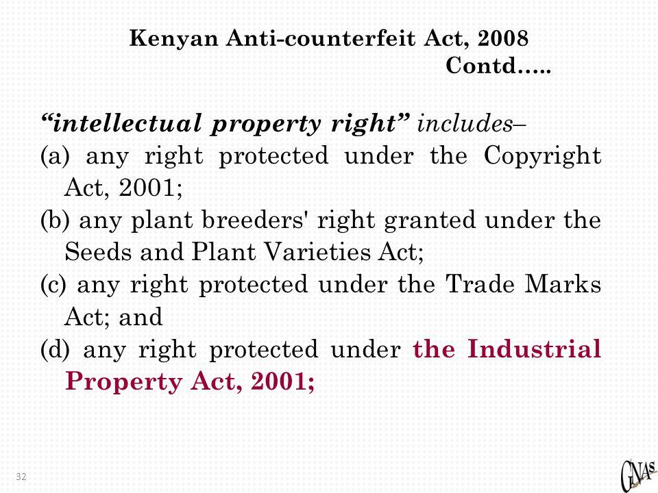 32 Kenyan Anti-counterfeit Act, 2008 Contd…..