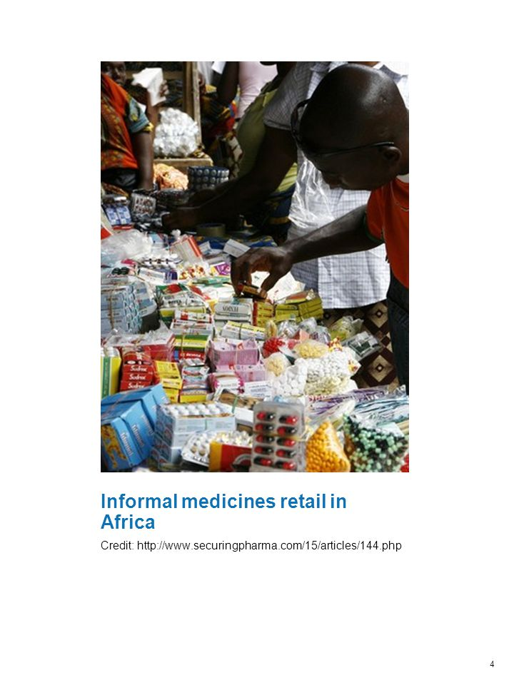 Informal medicines retail in Africa Credit: http://www.securingpharma.com/15/articles/144.php 4