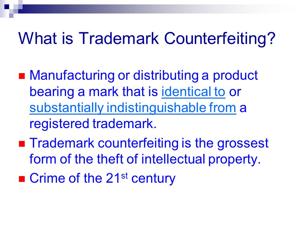 What is Trademark Counterfeiting.