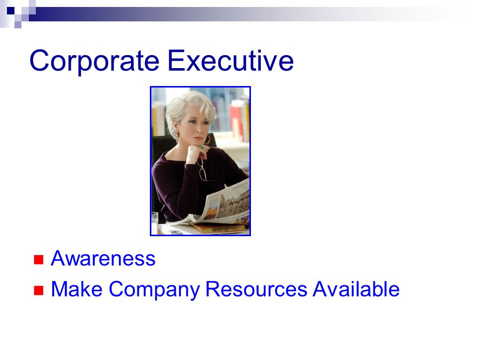 Corporate Executive Awareness Make Company Resources Available