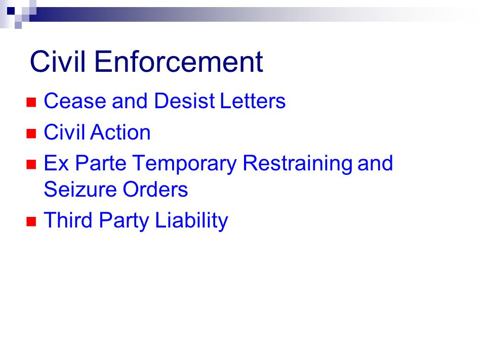 Civil Enforcement Cease and Desist Letters Civil Action Ex Parte Temporary Restraining and Seizure Orders Third Party Liability