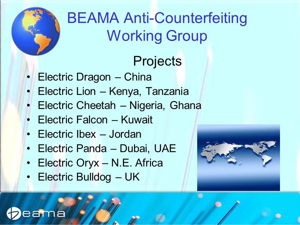 BEAMA Anti-Counterfeiting Working Group Projects Electric Dragon – China Electric Lion – Kenya, Tanzania Electric Cheetah – Nigeria, Ghana Electric Falcon – Kuwait Electric Ibex – Jordan Electric Panda – Dubai, UAE Electric Oryx – N.E.