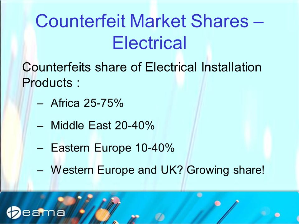 Counterfeit Market Shares – Electrical Counterfeits share of Electrical Installation Products : –Africa 25-75% –Middle East 20-40% –Eastern Europe 10-40% –Western Europe and UK.
