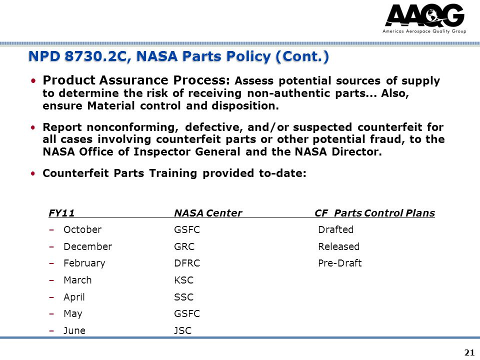 21 NPD 8730.2C, NASA Parts Policy (Cont.) Product Assurance Process: Assess potential sources of supply to determine the risk of receiving non-authentic parts...