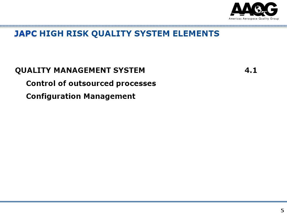 5 JAPC JAPC HIGH RISK QUALITY SYSTEM ELEMENTS QUALITY MANAGEMENT SYSTEM4.1 Control of outsourced processes Configuration Management