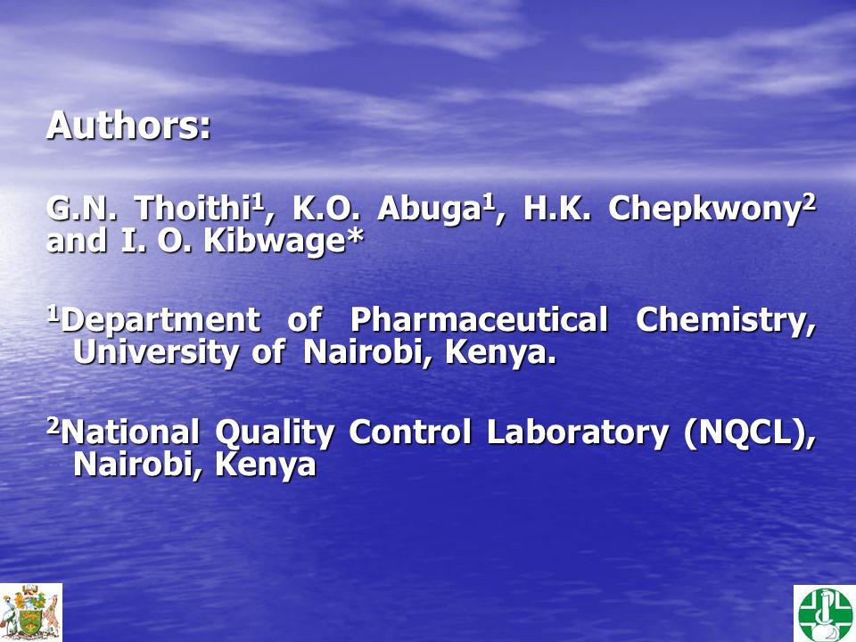 Authors: G.N.Thoithi 1, K.O. Abuga 1, H.K. Chepkwony 2 and I.