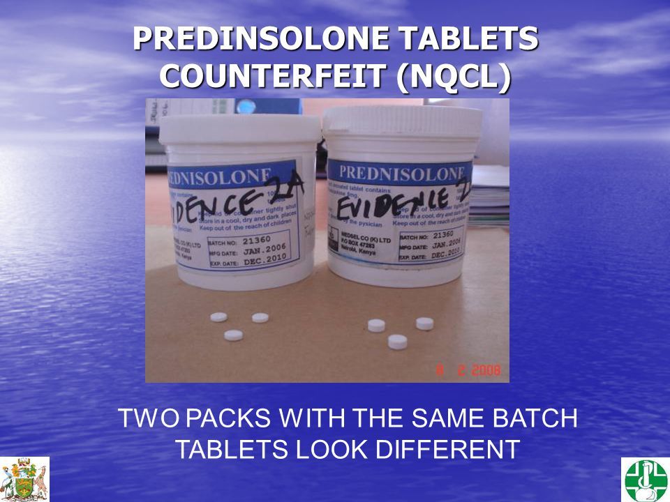 PREDINSOLONE TABLETS COUNTERFEIT (NQCL) TWO PACKS WITH THE SAME BATCH TABLETS LOOK DIFFERENT