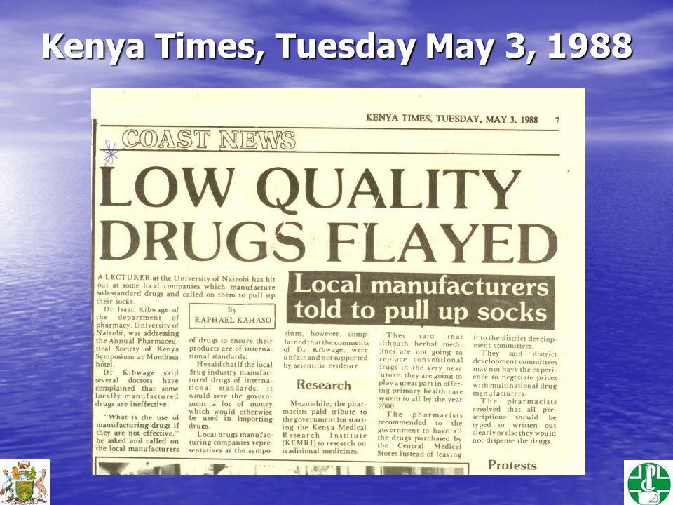Kenya Times, Tuesday May 3, 1988