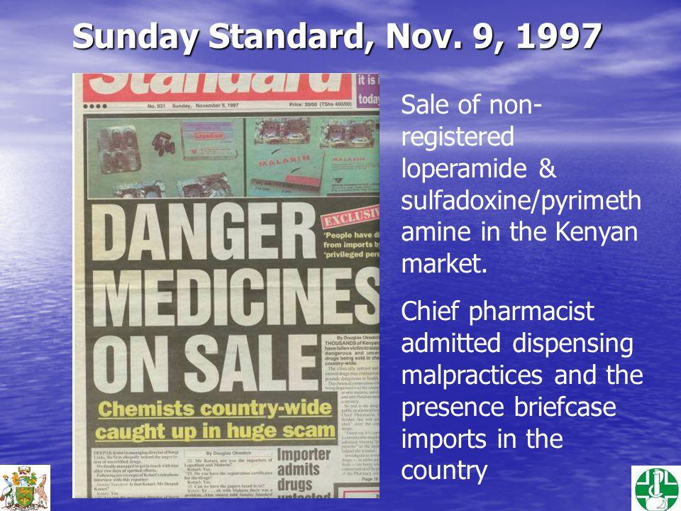 Sale of non- registered loperamide & sulfadoxine/pyrimeth amine in the Kenyan market.