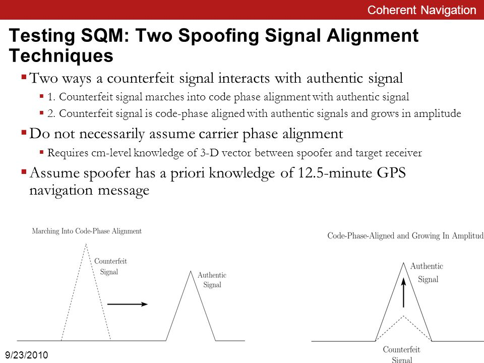 Coherent Navigation Testing SQM: Two Spoofing Signal Alignment Techniques  Two ways a counterfeit signal interacts with authentic signal  1.