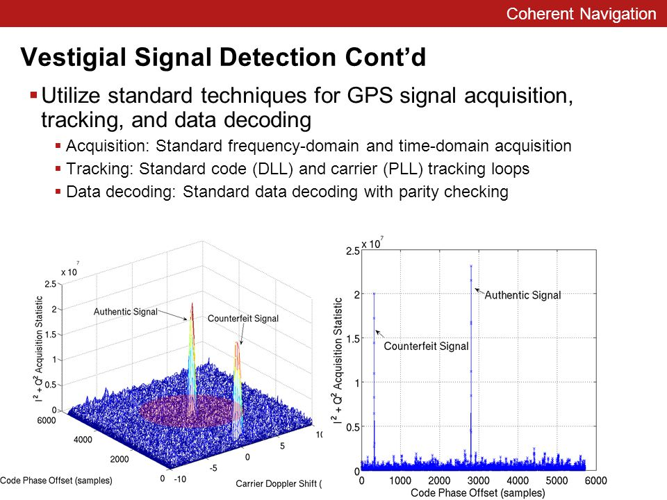 Coherent Navigation Vestigial Signal Detection Cont'd  Utilize standard techniques for GPS signal acquisition, tracking, and data decoding  Acquisition: Standard frequency-domain and time-domain acquisition  Tracking: Standard code (DLL) and carrier (PLL) tracking loops  Data decoding: Standard data decoding with parity checking