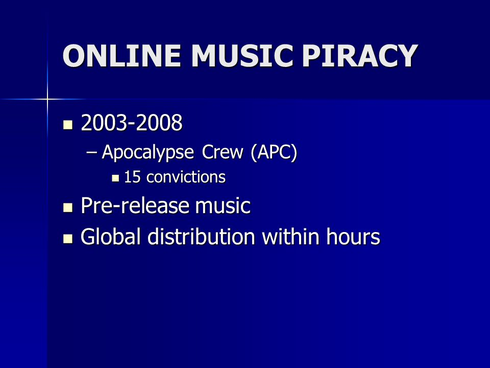 OPTICAL DISC PIRACY Operation Remaster-2006 Operation Remaster-2006 –2 charged –500,000 pirated music CDs –5,500 high-speed, high quality stampers