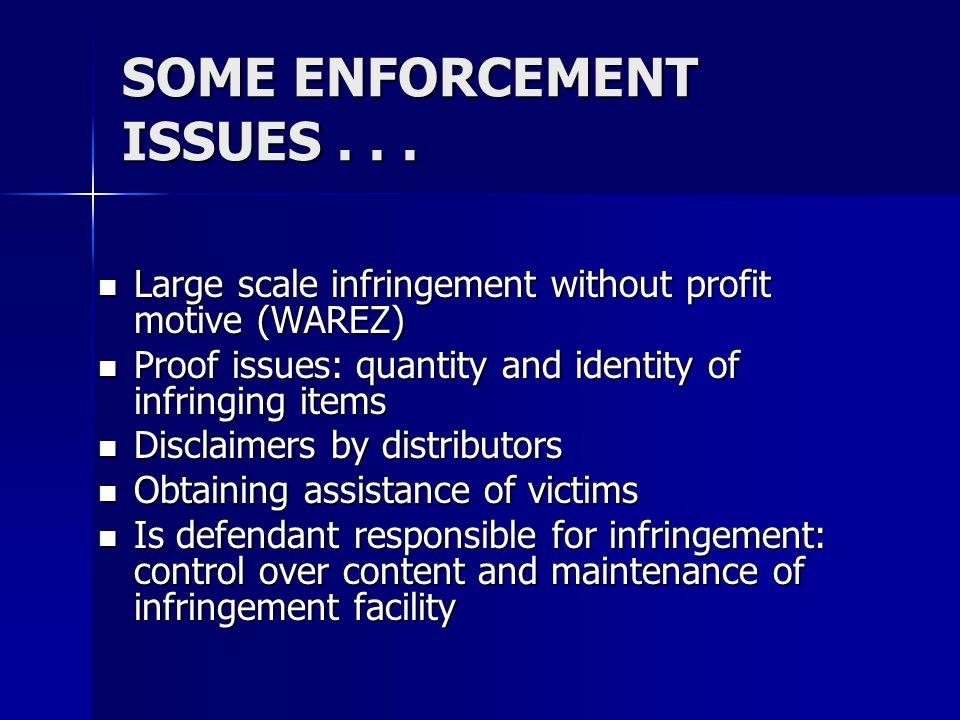 LUXURY GOODS Counterfeit watches Counterfeit watches Counterfeit handbags & wallets Counterfeit handbags & wallets –2005--Virginia More than 50,000 handbags & wallets seized More than 50,000 handbags & wallets seized Worth more than $2,000,000 Worth more than $2,000,000 –2006--Massachusetts More than 20,000 handbags & wallets seized More than 20,000 handbags & wallets seized Worth more than $1,400,000 Worth more than $1,400,000