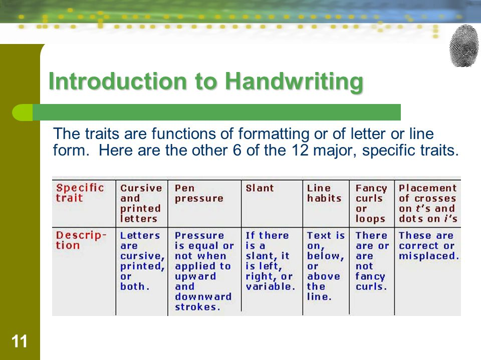 11 Introduction to Handwriting The traits are functions of formatting or of letter or line form.