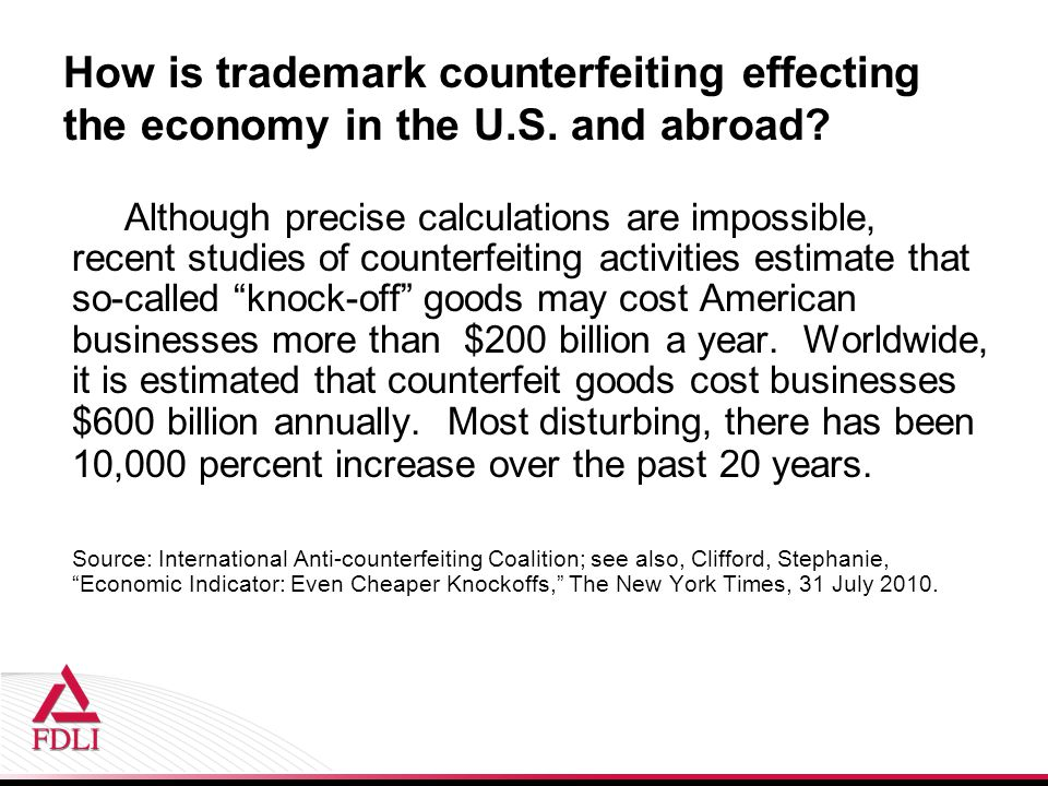 How is trademark counterfeiting effecting the economy in the U.S.