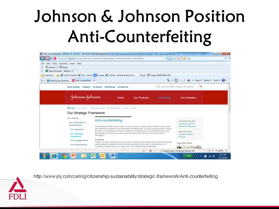 Johnson & Johnson Position Anti-Counterfeiting http://www.jnj.com/caring/citizenship-sustainability/strategic-framework/Anti-counterfeiting