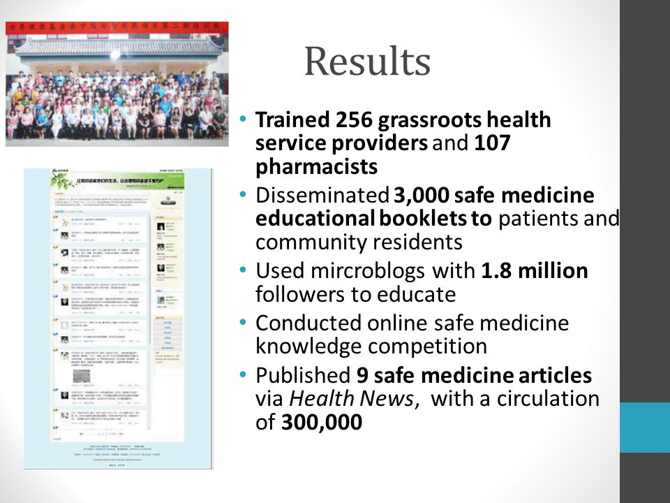 Results Trained 256 grassroots health service providers and 107 pharmacists Disseminated 3,000 safe medicine educational booklets to patients and community residents Used mircroblogs with 1.8 million followers to educate Conducted online safe medicine knowledge competition Published 9 safe medicine articles via Health News, with a circulation of 300,000