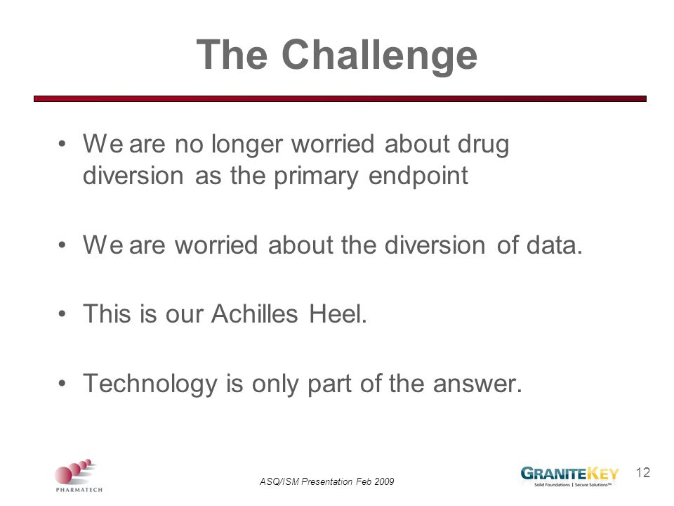 ASQ/ISM Presentation Feb 2009 12 The Challenge We are no longer worried about drug diversion as the primary endpoint We are worried about the diversio