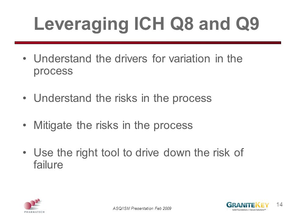 ASQ/ISM Presentation Feb 2009 14 Leveraging ICH Q8 and Q9 Understand the drivers for variation in the process Understand the risks in the process Miti
