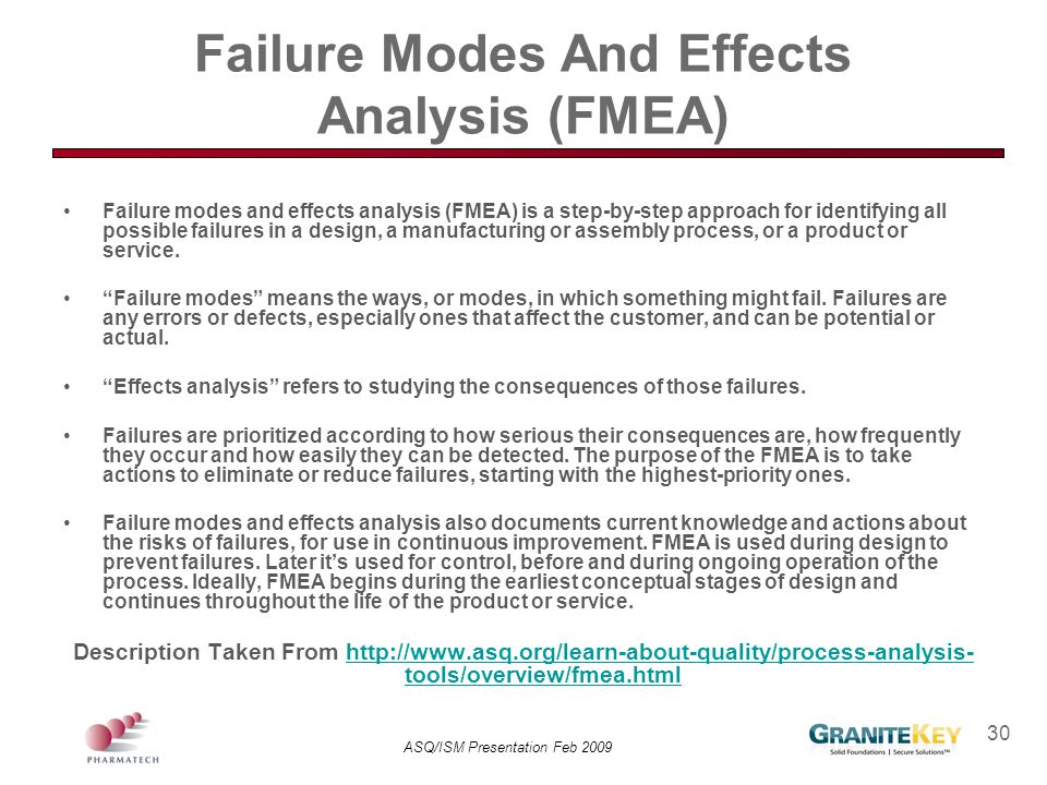 ASQ/ISM Presentation Feb 2009 30 Failure Modes And Effects Analysis (FMEA) Failure modes and effects analysis (FMEA) is a step-by-step approach for id