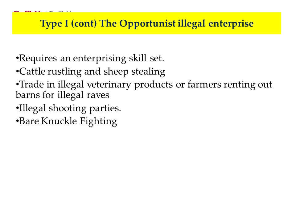 Type I (cont)The Opportunist illegal enterprise Requires an enterprising skill set. Cattle rustling and sheep stealing Trade in illegal veterinary pro